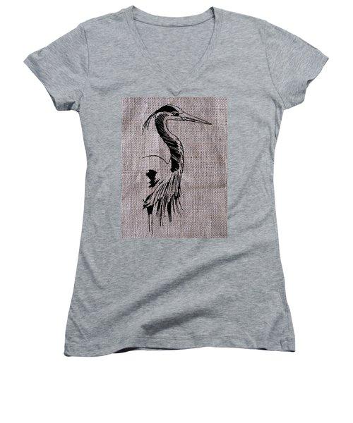 Heron On Burlap Women's V-Neck