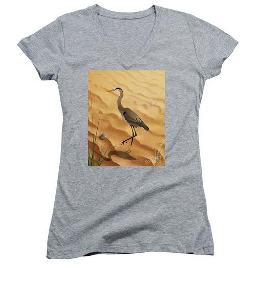 Heron On Golden Sands Women's V-Neck (Athletic Fit)