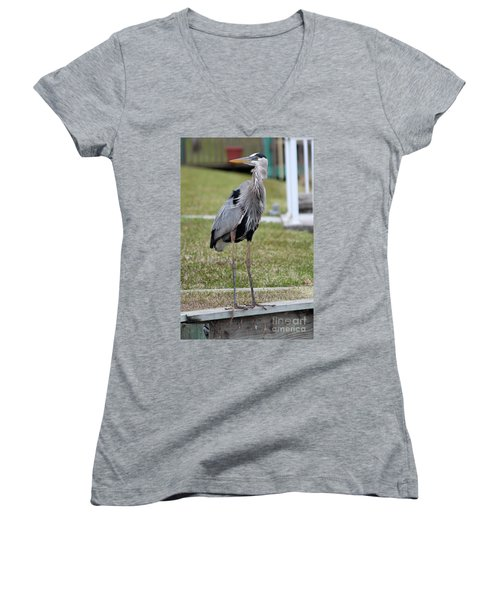 Heron On The Edge Women's V-Neck T-Shirt