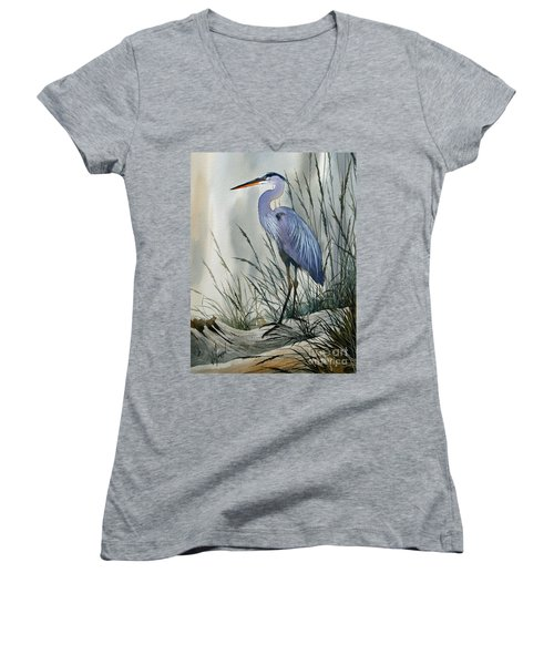 Herons Sheltered Retreat Women's V-Neck T-Shirt (Junior Cut) by James Williamson