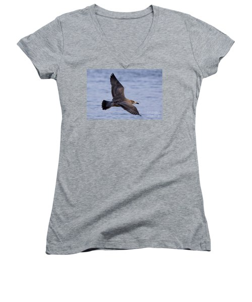 Women's V-Neck T-Shirt (Junior Cut) featuring the photograph Herring Gull In Flight Photo by Meg Rousher