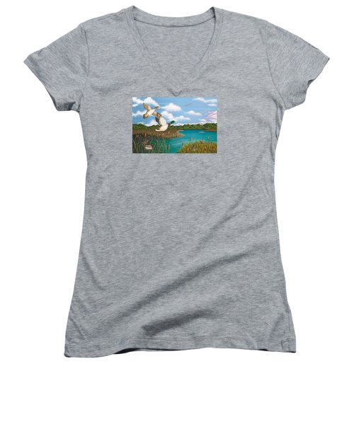 Hiding Out Women's V-Neck T-Shirt (Junior Cut) by Katherine Young-Beck