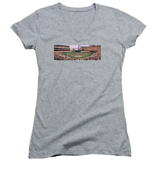 High Angle View Of A Baseball Field Women's V-Neck T-Shirt