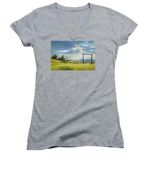 High Country Farm Women's V-Neck T-Shirt (Junior Cut) by Theresa Tahara