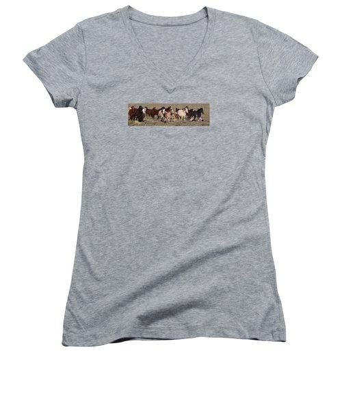 High Desert Horses Women's V-Neck T-Shirt (Junior Cut) by Diane Bohna