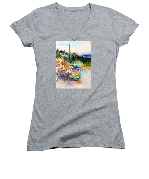 High Desert Scene 2 Women's V-Neck T-Shirt (Junior Cut) by M Diane Bonaparte