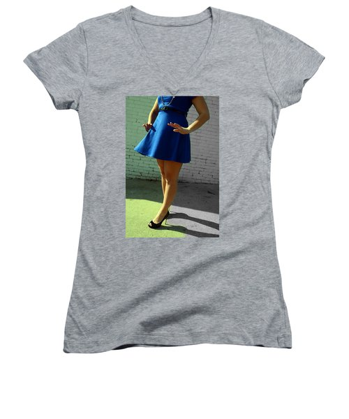 High Heels And A Blue Skirt Women's V-Neck (Athletic Fit)