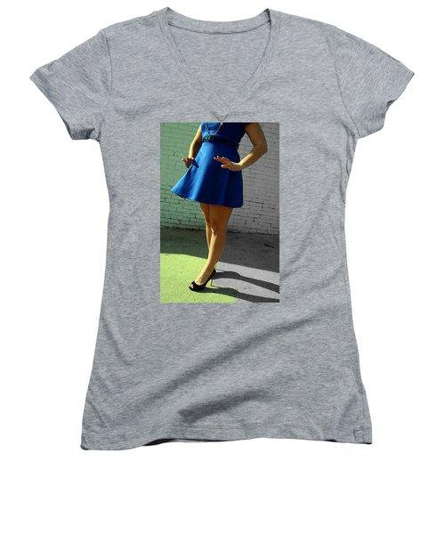 High Heels And A Blue Skirt Women's V-Neck T-Shirt
