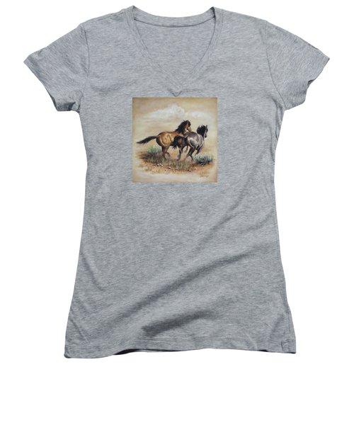 High Tailin' It Women's V-Neck T-Shirt (Junior Cut) by Kim Lockman