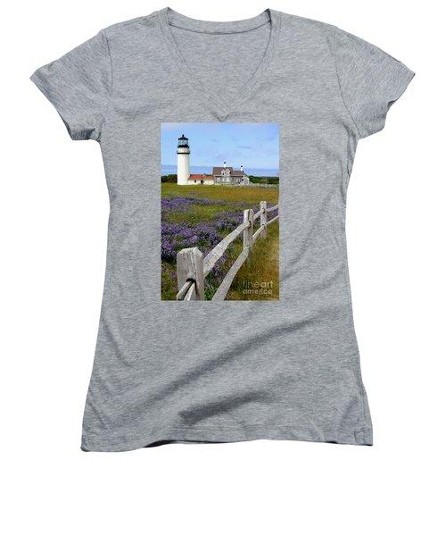 Women's V-Neck T-Shirt (Junior Cut) featuring the photograph Highland Lighthouse by Paula Guttilla