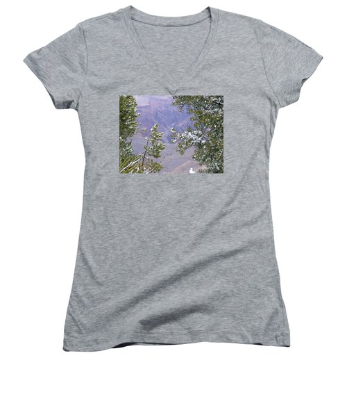 Women's V-Neck T-Shirt (Junior Cut) featuring the photograph Highlighting Snow by Roberta Byram