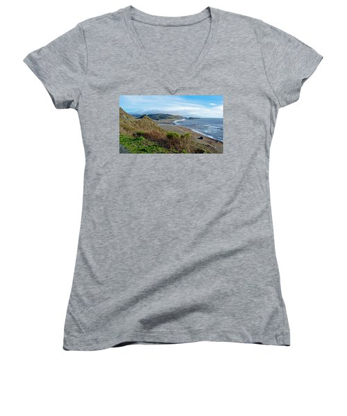 Highway 1 Near Outlet Of Russian River Into Pacific Ocean Near Jenner-ca  Women's V-Neck T-Shirt