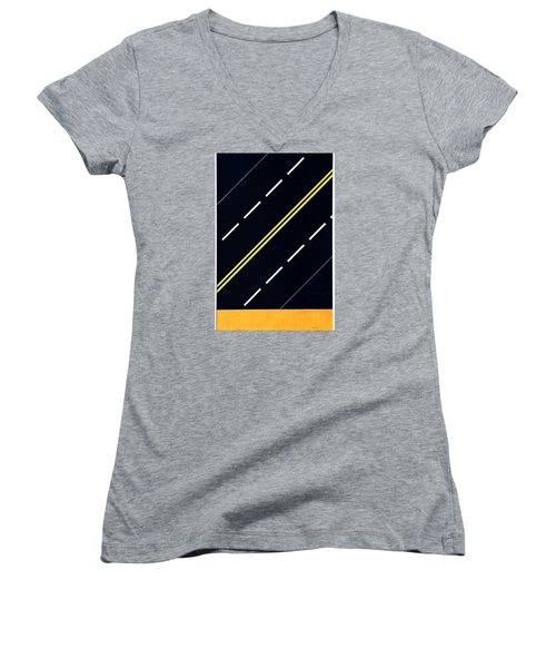 Highway Women's V-Neck T-Shirt (Junior Cut) by Thomas Gronowski