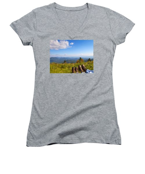 Hikers With A View On Round Bald Near Roan Mountain Women's V-Neck T-Shirt (Junior Cut) by Melinda Fawver