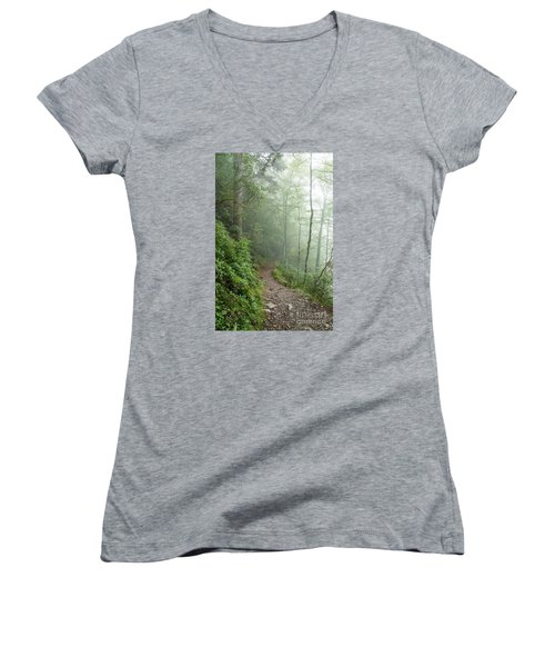 Hiking In The Clouds Women's V-Neck T-Shirt (Junior Cut) by Debbie Green
