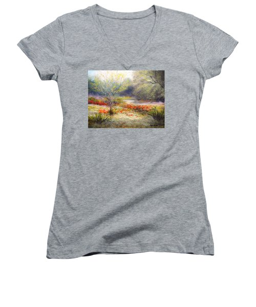 Hill Country Wildflowers Women's V-Neck T-Shirt (Junior Cut) by Patti Gordon