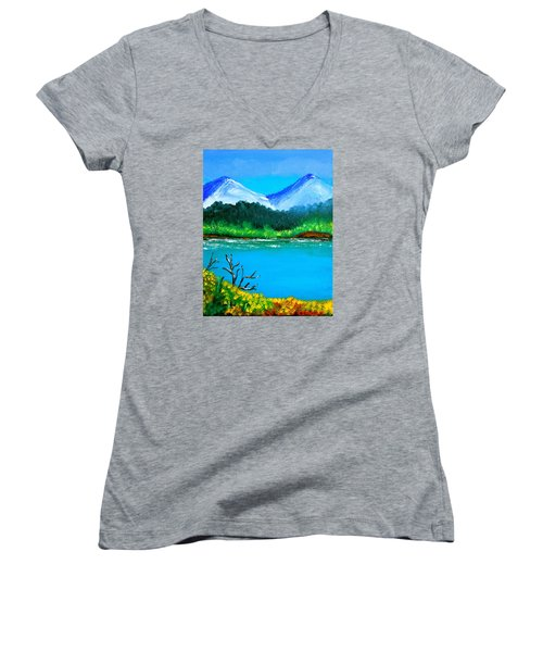Hills By The Lake Women's V-Neck T-Shirt