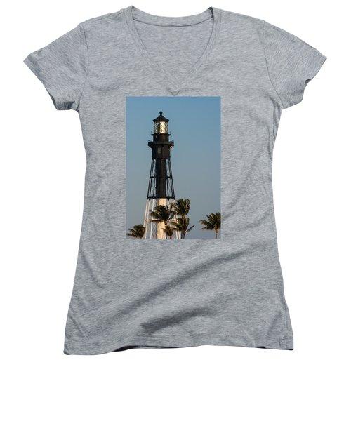 Hillsboro Inlet Lighthouse In The Evening Women's V-Neck T-Shirt (Junior Cut)