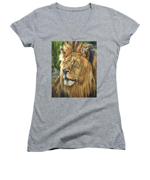 Him - Lion Women's V-Neck T-Shirt (Junior Cut) by Lori Brackett
