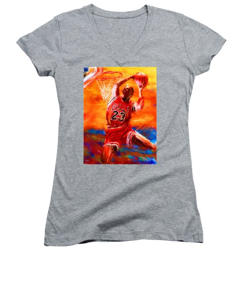 His Airness Women's V-Neck T-Shirt (Junior Cut) by Lourry Legarde