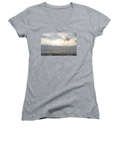 Women's V-Neck T-Shirt (Junior Cut) featuring the photograph His Glory Shines by Judith Morris