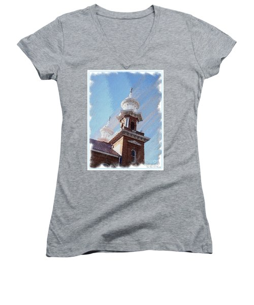 Historic Church Steeples Women's V-Neck T-Shirt (Junior Cut) by Bobbee Rickard
