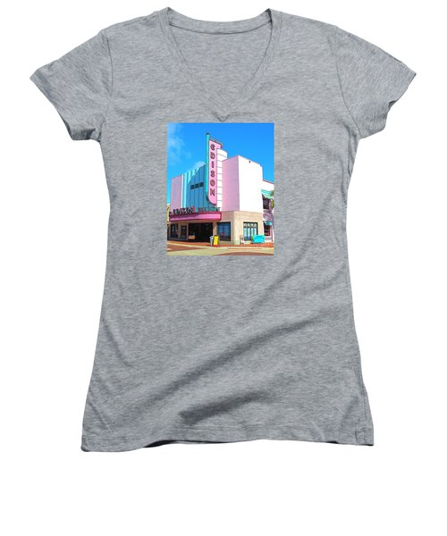 Deco Historic Edison Theater. Ft. Myers. Florida. Women's V-Neck (Athletic Fit)