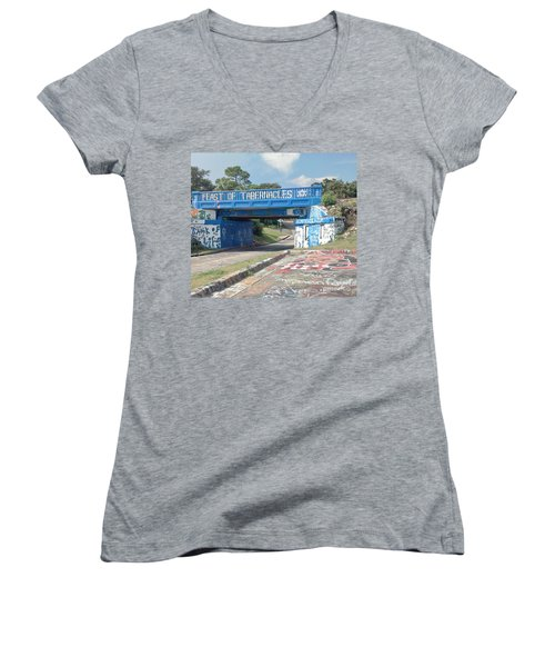 Historic Pensacola Graffiti Bridge Women's V-Neck (Athletic Fit)