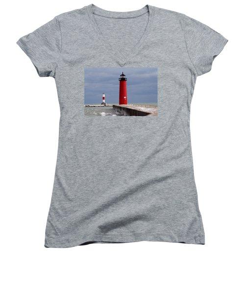 Women's V-Neck T-Shirt (Junior Cut) featuring the photograph Historic Pierhead Lighthouse by Kay Novy