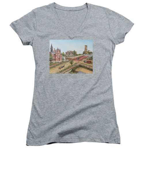 Historic Street - Lawrence Kansas Women's V-Neck T-Shirt (Junior Cut)