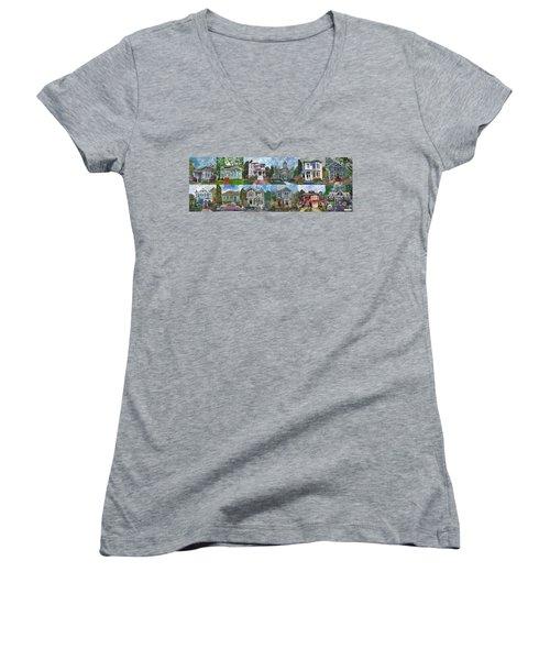 Historical Homes Women's V-Neck T-Shirt (Junior Cut) by Linda Weinstock