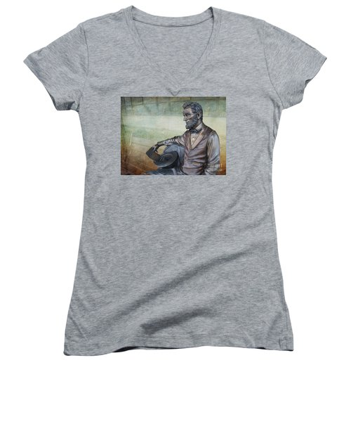 History - Abraham Lincoln Contemplates -  Luther Fine Art Women's V-Neck T-Shirt (Junior Cut) by Luther Fine Art