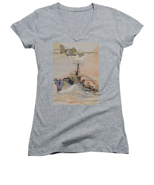 Hms Ashanti Women's V-Neck T-Shirt (Junior Cut) by Ray Agius