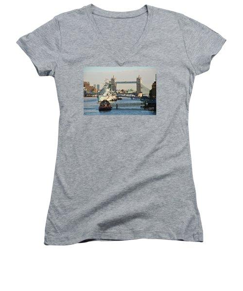 Hms Belfast London Women's V-Neck T-Shirt