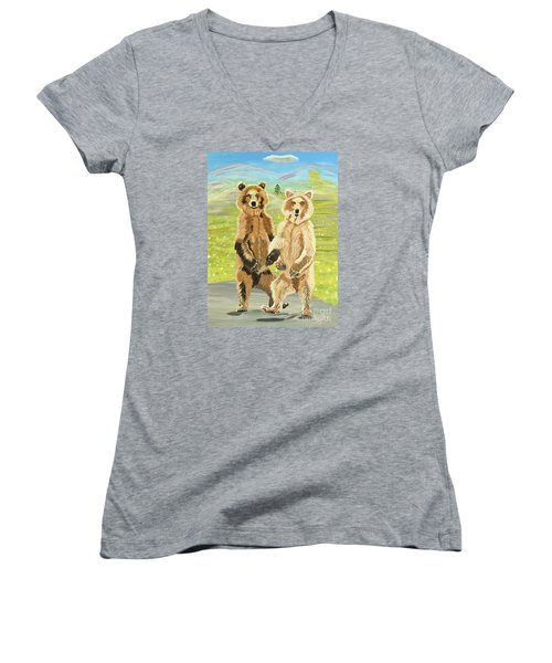 Hoedown On The Tundra Women's V-Neck T-Shirt (Junior Cut) by Phyllis Kaltenbach