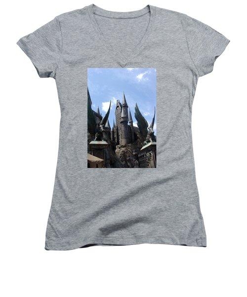 Hogwarts Castle Women's V-Neck (Athletic Fit)