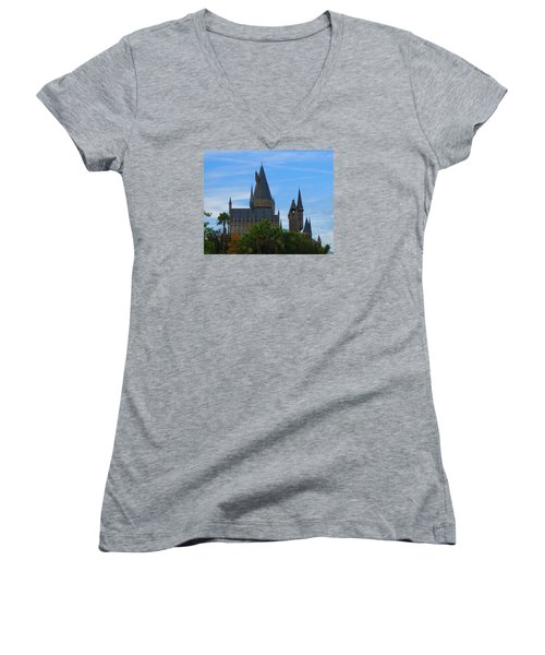 Hogwarts Castle With Towers Women's V-Neck T-Shirt (Junior Cut) by Kathy Long