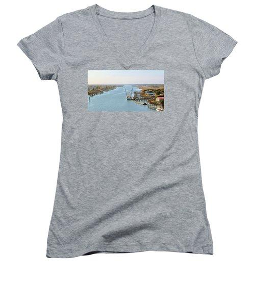 Holden Beach In Nc Women's V-Neck T-Shirt (Junior Cut) by Cynthia Guinn