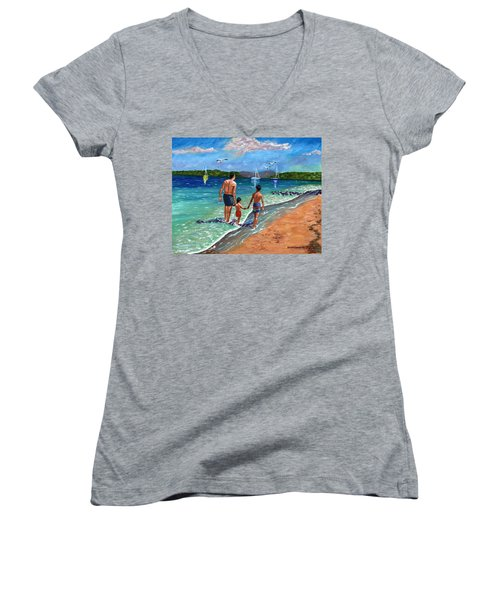 Women's V-Neck T-Shirt (Junior Cut) featuring the painting Holding Hands by Laura Forde