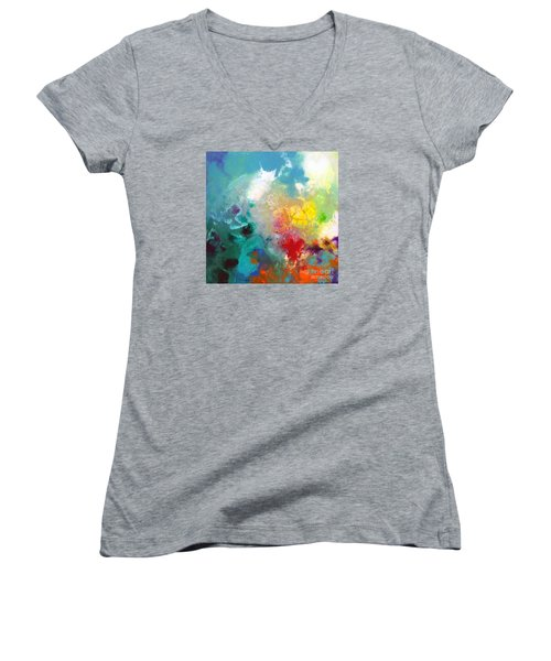 Holding The High Watch Canvas One Women's V-Neck T-Shirt (Junior Cut) by Sally Trace