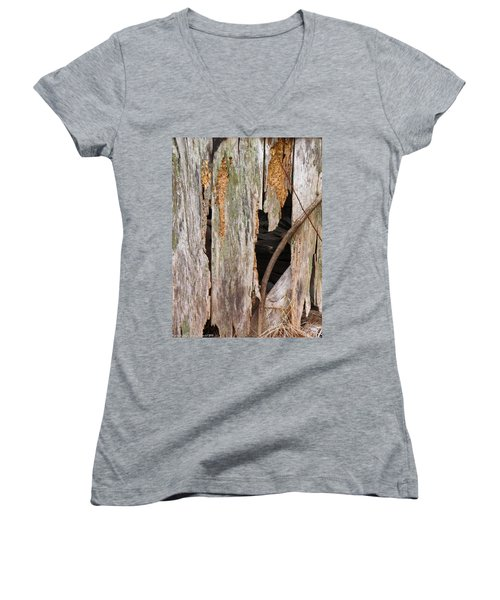 Women's V-Neck T-Shirt (Junior Cut) featuring the photograph Holey Smokehouse by Nick Kirby