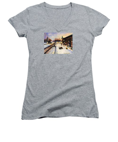 Holiday Depot 1932 Women's V-Neck T-Shirt (Junior Cut) by Susan Williams