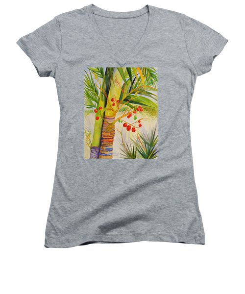 Holiday Palm Women's V-Neck T-Shirt