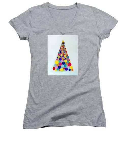 Holiday Tree #1 Women's V-Neck T-Shirt (Junior Cut) by Thomas Gronowski