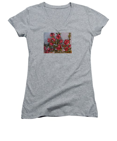 Hollyhocks Women's V-Neck T-Shirt