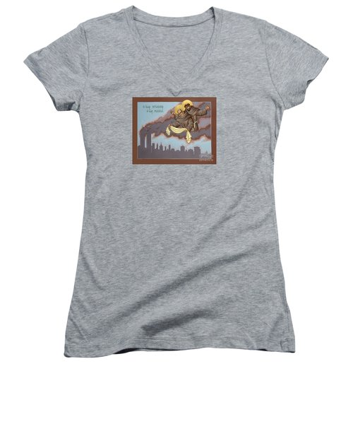 Women's V-Neck T-Shirt (Junior Cut) featuring the painting Holy Passion Bearer Mychal Judge 132 by William Hart McNichols