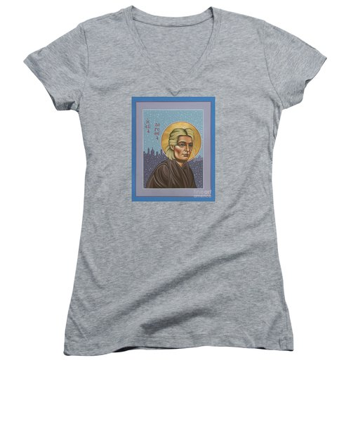 Holy Prophet Dorothy Day 154 Women's V-Neck T-Shirt (Junior Cut) by William Hart McNichols