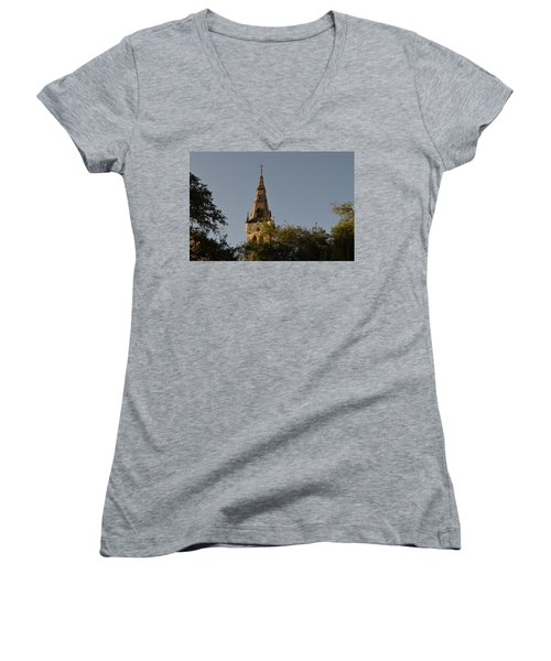 Women's V-Neck T-Shirt (Junior Cut) featuring the photograph Holy Tower   by Shawn Marlow
