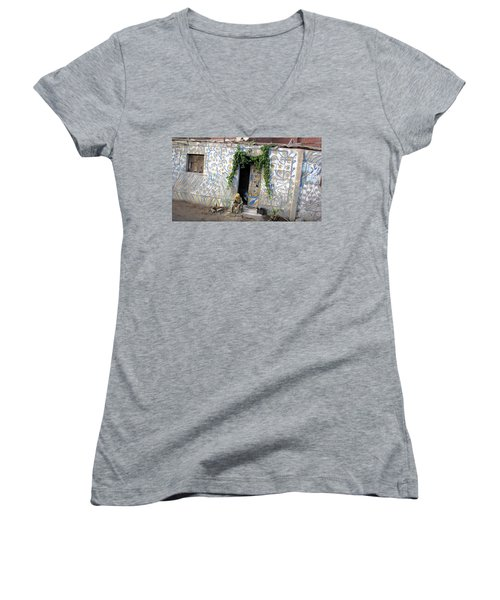 Women's V-Neck T-Shirt (Junior Cut) featuring the photograph Home In Ciro Egypt by Jennifer Wheatley Wolf