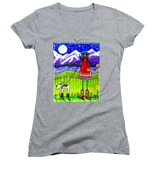 Women's V-Neck T-Shirt (Junior Cut) featuring the painting Home by Jackie Carpenter